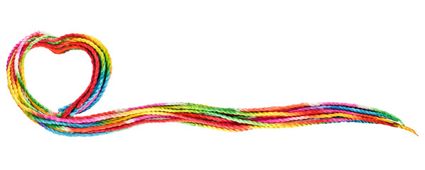colorful rope text frame on white background