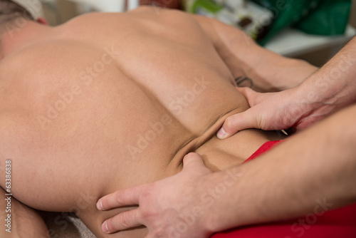Close-Up Of An Man Having A Back Massage