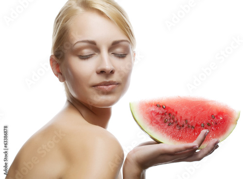 young woman with  water melon