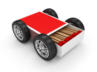 Red Matchbox on Wheels isolated on white background