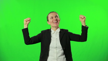 Business success with green screen background