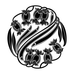 Floral round pattern in black and white. Vector illustration
