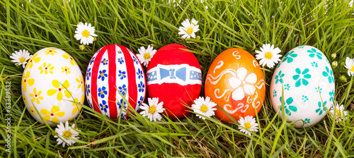 Easter Eggs on Fresh Green Grass