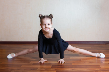 happy little girl gymnast
