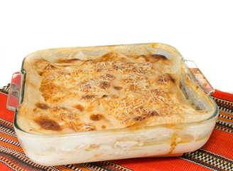 Gratin on red tablecloth