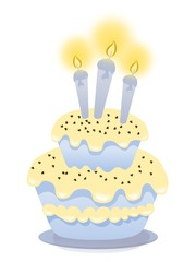 Birthday cake with three candles - isolated on white