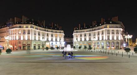 Un soir place Graslin à Nantes (Loire-Atlantique)