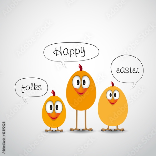 Happy Easter with three funny chick and sign