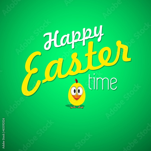 Happy Easter Typographical Background with small funny chicken