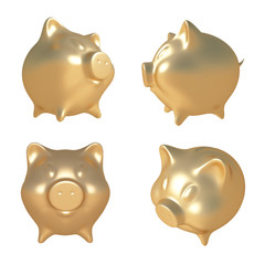 Golden piggy bank. 3D illustration