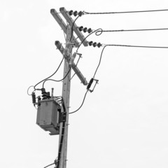 Black and white, Transformer on electric post