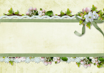Spring background with apple flowers and lace