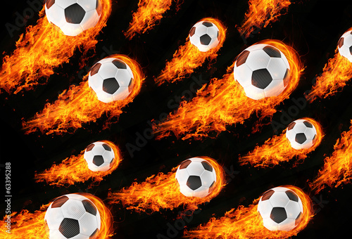 3d abstract burning soccer football field background