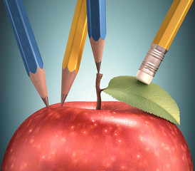 Drawing apple. Clipping path included.