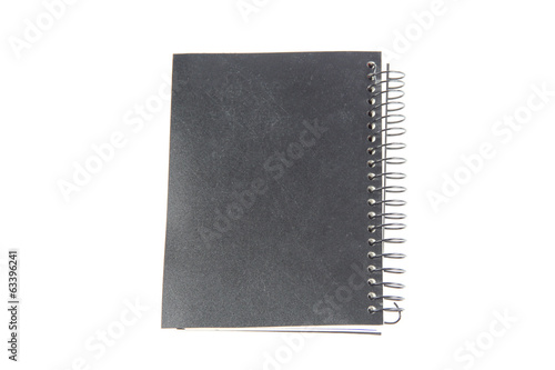 black notebook isolated.
