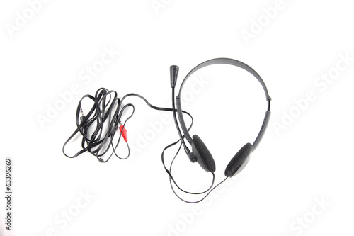black headphone isolated.