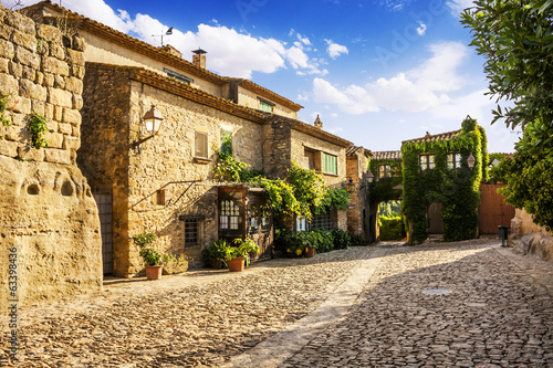Typical street in Peratallada, medieval village,Catalonia, Spain