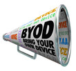 Постер, плакат: BYOD Bullhorn Megaphone Bring Your Own Device Company Policy