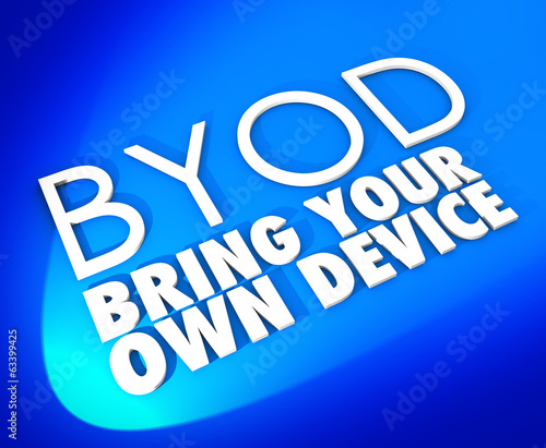 Bring Your Own Device BYOD Blue Word Background