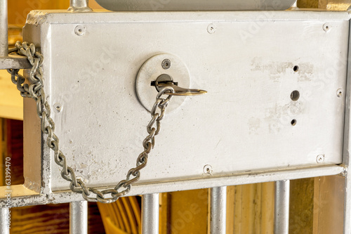 Steel security door with a chained key