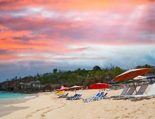Beach of Saint Maarten at sunset, Dutch Antilles
