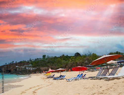 Beach of Saint Maarten at sunset, Dutch Antilles