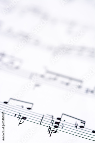 Written sheet music close up