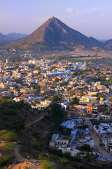 Aerial view of Pushkar city, Rajasthan, India