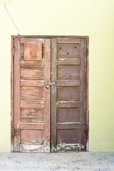 Old wood doors locked
