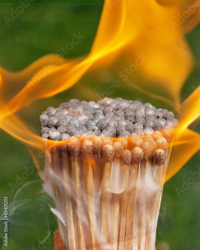 Smoke and fire on match sticks