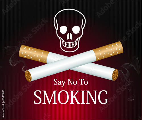Cigarette smoke graphic on red background