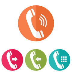 Phone icons in colored buttons. Vector illustration.