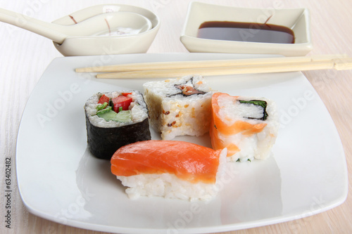 Japanese roll and sushi