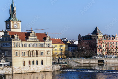 View to the Prague Old Town (Smetanovo Nabrezi)