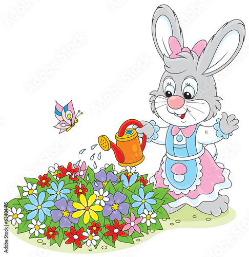 Little rabbit watering flowers on a flowerbed