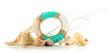 Lifebuoy and sea shells, isolated on white