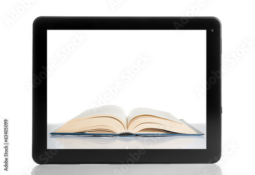 book inside tablet pc isolated on white background