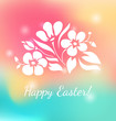 Floral ornament on colorful background with bokeh effect.