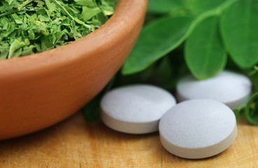 Moringa leaves with tablet