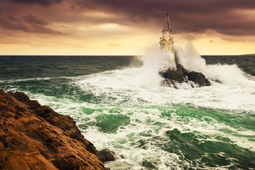 Lighthouse in a stormy sea