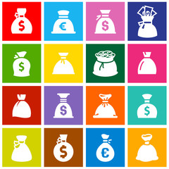 Money bags, set icons on colored squares