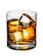 Glass of Scotch whiskey with ice - 63406642
