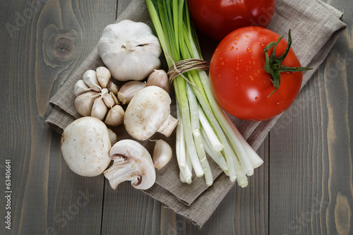 fresh vegetables on napkin