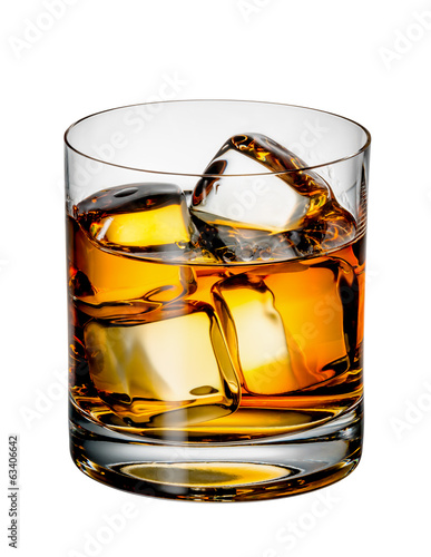 Tuinposter Alcohol Glass of Scotch whiskey with ice