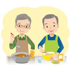 料理をする男性 高齢者