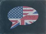 Fototapety US-UK Flags - Speech Bubble on Blackboard (American English)