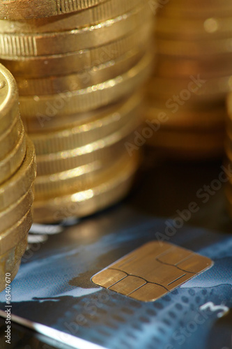 coins and credit cards