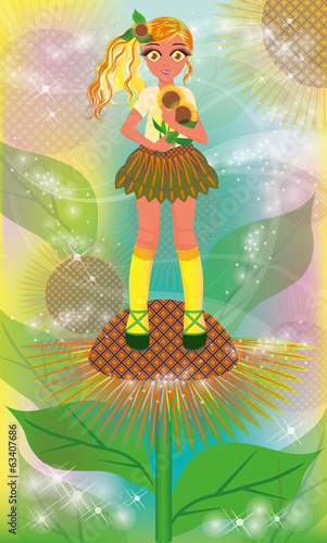 Young sunflower girl, vector illustration