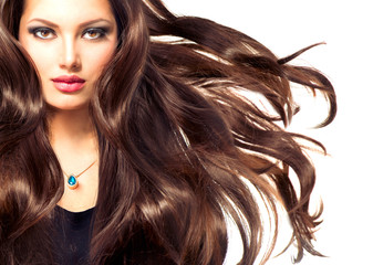 Fashion Model Girl Portrait with Long Blowing Hair
