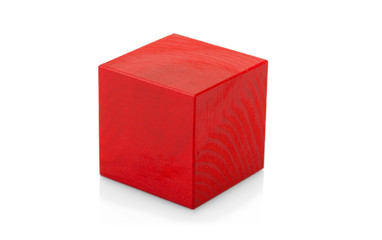 Red wooden cube toy isolated on white background